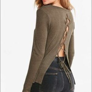 UO v-neck sweater lace up back